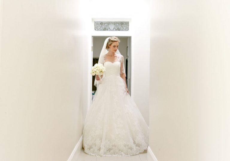 English bride walking down the passage in Johannesburg