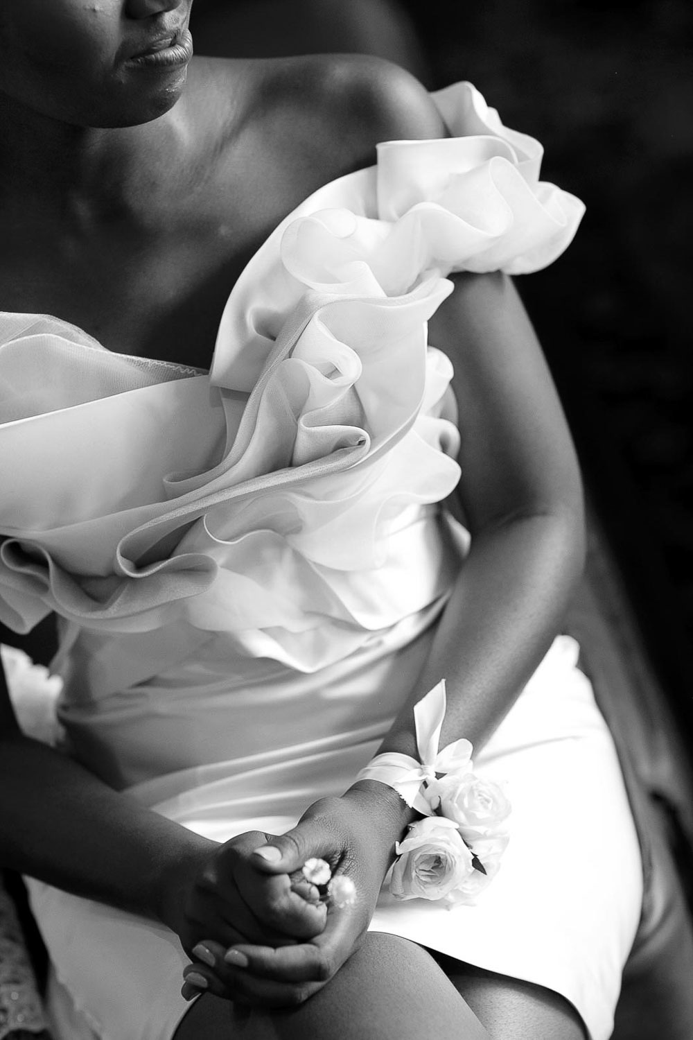 black and white image of bridal dress at the red ivory lodge