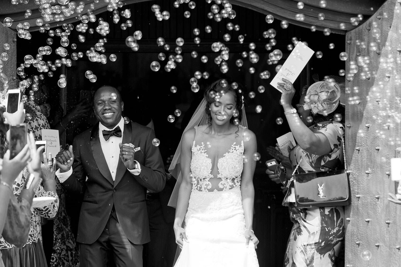 wedding bubbles at Rosebank Catholic Church in Keyes Avenue in Rosebank