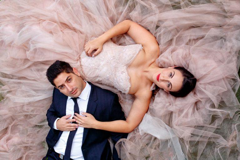 Jewish Bride in a pink wedding dress