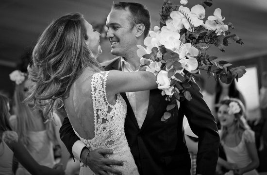 Black and white dancing image of the bride and groom at Green Leaves Country Lodge at Hartbeespoort